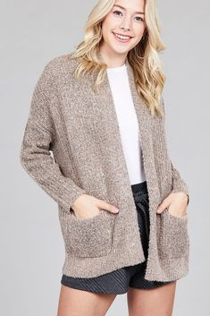 9deaeb3495 Ladies fashion dolmen sleeve open front surplice back construction sweater  cardigan