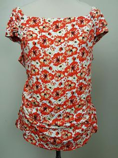 White House Black Market top XL cap sleeves ruched at waist orange floral print #WhiteHouseBlackMarket #KnitTop