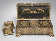 Lot Description  Lacquer game box, China, circa early 19th century.  6 x 12.25 x 5.35 in. (157 x 315 x 135 mm). Retangular Chinese export bo...