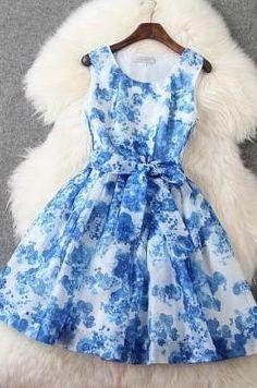Luxury Designer Sleeveless Dress - Blue