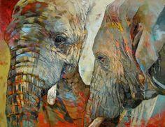 #elephants #oil painting #palette knife