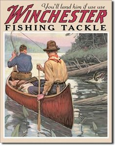 Vintage Style Tin Sign, Winchester fishing tackle, man cave, fishing, garage decor, wall hanging