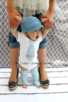 Personalized Tie Bodysuit for Baby Boy Spring, Pair of Button Leg Warmers, Spring Baby Blue Outfit#Valentine's Day