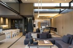 blonde wood blue-grey and black | colour palette | contemporary open plan living