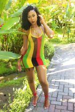 9c4873d3d6da7 Jamaican Rasta Colour, Reggae, Fish Mesh Hollow Out Micro Mini Dress, 2  SIZES