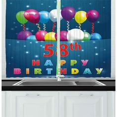 East Urban Home Ambesonne Birthday Kitchen Curtains, 20 Birthday Party With Colourful Balloons On The Blue Backdrop Print, Window Drapes 2 Panel Decorative Items, Decorative Curtains, Modern Curtains, 20th Birthday, Kitchen Curtains, Personalized Products, Kitchen Decor, Decorating Kitchen, Home Textile