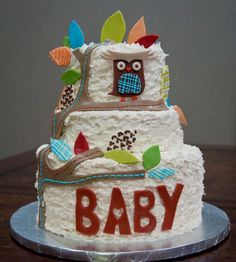 This is absolutely ADORABLE (owl cake for baby shower)