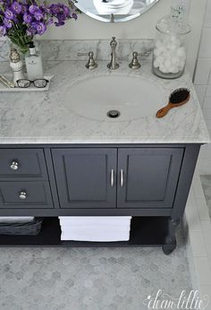 Love these materials and cabinet color. Dear Lillie: A Little Peek into Our Updated Master Bathroom