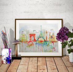 Items similar to Original Paris skyline watercolor Notre Dame art Eiffel Tower TRAVEL wall art City painting Unique Paris decor Paris painting Paris wall art on Etsy Paris Painting, City Painting, Paris Wall Art, Travel Wall Art, Paris Decor, Watercolor Artwork, Art Market, Original Artwork, Original Paintings