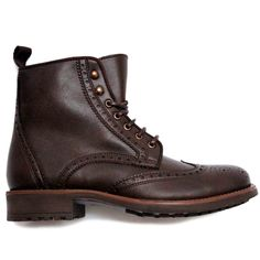 """Visionary Boot by Brave Gentle Man. The """"Visionary Boot"""" is a mahogany, brogue boot with a hiker's grip sole made in Portugal under fair labor conditions in fine Italian microfiber"""