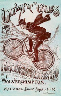Plaque métal vintage - Olympic Cycles Frank H. Vintage Cycles, Vintage Bikes, Vintage Ads, Vintage Decor, Vintage Posters, Vintage Type, Vintage Ephemera, Tarzan, Bike Drawing