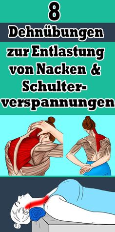 8 stretching exercises to relieve neck and shoulder tension - Gesundheit und fitness - yoga Fitness Workouts, Yoga Fitness, Wellness Fitness, Fun Workouts, Health Fitness, Back Exercises, Stretching Exercises, Training Exercises, Fitness Inspiration