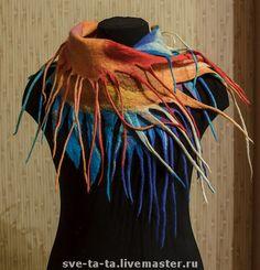 "Шарфик ""Птица Феникс"" (нуно-войлок) - яркий шарфик,валяный шарф,войлочный шарф"