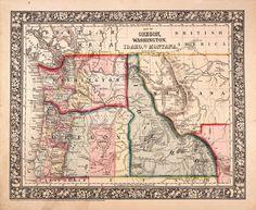 Vintage  map of Oregon Washington Idaho and part by AncientShades, $19.00
