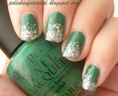 OPI - Jade is the new black with glitter tips