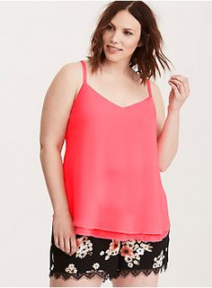 """<div>This eye-popping neon coral cami is working double time with a sexy v-cut front and back. Cut with two floaty, semi-sheer, and swingy chiffon layers, this cami is a dressy upgrade from your everyday tanks.</div><div><br></div><div><b>Model is 5'9.5"""", size 1</b></div><div><ul><li style=""""list-style-position: inside !important; list-style-type: disc !important"""">Size 1 measures 29 1/2"""" from shoulder</li><li style=""""list-style-position: inside !important; list-style-type: disc !"""