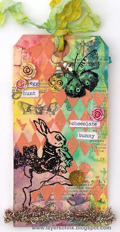 Layers of ink - 12 tags of 2015 March using Tim Holtz, Ranger, Idea-ology, Sizzix and Stamper's Anonymous products; Mar 2015