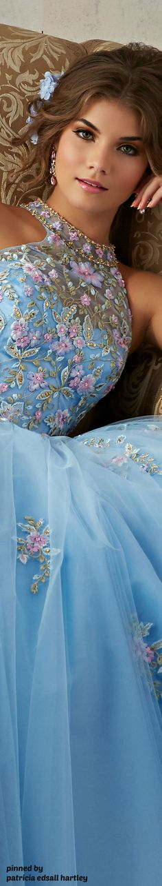 Embroidered blue gown