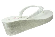 a8aca724e White  Champagne Glitter Wedding Wedges - customizable color options