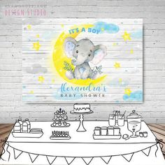 Baby elephant party boy elephant elephant baby shower boy | Etsy Elephant Party, Baby Elephant, Birthday Backdrop, Custom Items, Baby Boy Shower, Backdrops, Boys, Artwork, Design