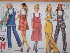 Vintage 1970 Simplicity 8904 Retro Jumper in Two Lengths or Tunic & Pants Sewing Pattern Size 14 Bust by on Etsy A Line Skirt Pattern, Vest Pattern, Sewing Patterns Girls, Simplicity Sewing Patterns, Vintage Patterns, Coat Patterns, Clothing Patterns, Clothing Styles, Retro Fashion