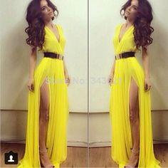 Sexy Chiffon Michael Costello Evening Dresses Vestidos Double Slits V Neck Sleeveless Yellow Prom Dress with Belt