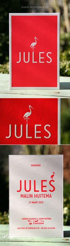 letterpers_letterpress_geboortekaartje_jules_ooievaar_fluor_neon_rood_roze