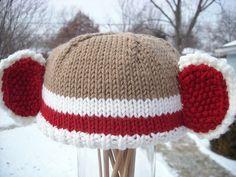 free pattern by Pat Salvatini Knitted Hats Kids, Knitted Baby Clothes, Knitted Gloves, Knitting For Kids, Knitting Socks, Baby Knitting, Kids Hats, Crochet Monkey, Crochet Baby