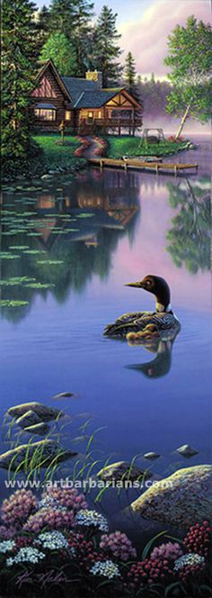 Wildlife art prints plus original paintings with a wide selection from ArtBarbarians.com located in Minnesota. Beyond Still Waters By Kim Norlien