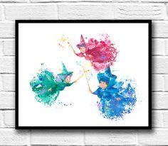 Sleeping Beauty Watercolor Print, Aurora Fairy Godmother Art, Disney Art, Movie Poster, Nursery, Wall Art, Kids Room Decor, Home Decor - 694 by gingerkidsart on Etsy https://www.etsy.com/listing/505539645/sleeping-beauty-watercolor-print-aurora