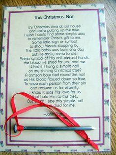 christmas nail ornament, reason for the season, chirstmas poem Christmas Program, 12 Days Of Christmas, Christmas Quotes, A Christmas Story, Diy Christmas Gifts, Christmas Projects, Christmas Nails, Holiday Crafts, Christmas Holidays