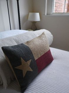 hand printed Texas State  flag cushion cover on Etsy, $76.00