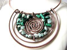 ♥  ♥    Pagan Copper and Malachite Necklace - Luna Moon Goddess.