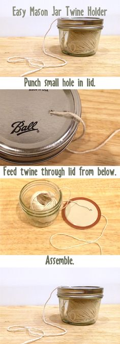 Make an easy twine holder from a mason jar! Full post at http://www.nwedible.com/mason-jar-twine-holder/