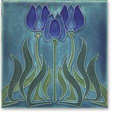 Motawi fireplace tile, tulips.