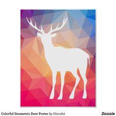 Colourful Geometric Deer Poster