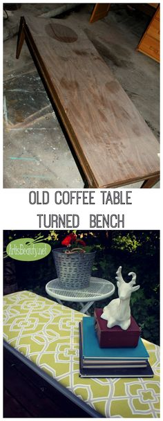 ART IS BEAUTY: Old Coffee Table turned Upholstered Bench