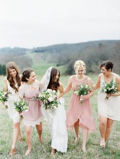 pink and cream bridesmaids   Tennessee Farm Wedding by Erich McVey