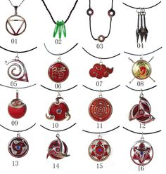 Naruto Hidan Uchiha Madara Konoha Kakashi Tsunade Red Could  Kunai necklace #emell
