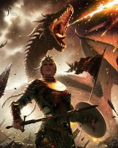 Visenya Targaryen with her dragon Vhagar! Artwork by Berkan Ozkan.