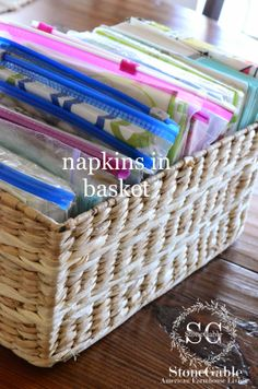 StoneGable: 5 TIPS TO ORGANIZE A MESSY DRAWER.In a kitchen drawer, place any paper napkins (the misc stacks we seem to have) in quart or larger size bags and then in a basket or bin. Kitchen Organization Pantry, Linen Closet Organization, Organization Station, Organization Hacks, Organizing Ideas, Organized Kitchen, Basket Organization, Basement Storage, Laundry Room Storage