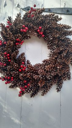 Holiday Pinecone Wreath by scarletsmile on Etsy Pine Cone Decorations, Christmas Decorations, Holiday Decor, Monogram Wreath, Diy Wreath, Xmax, Berry Wreath, Pine Cone Crafts, Pine Cones