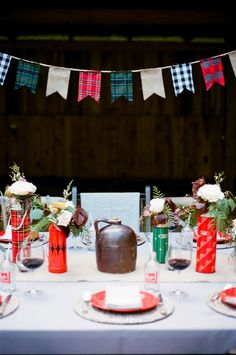 Keep it cosy  Use warm fabrics for your bunting and decor, such as rich tartans and plaid. It'll give it a wonderfully vintage feel.