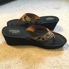 Coach sandals In great condition! Never been worn. Size 8 1/2B but fits like an 8. Platform height: 2 1/4 in. Coach Shoes Sandals