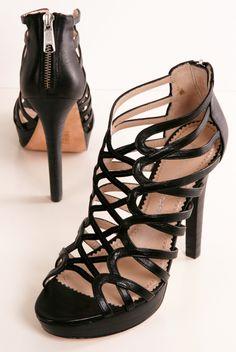 JEAN-MICHEL CAZABAT - Black leather cutout heels