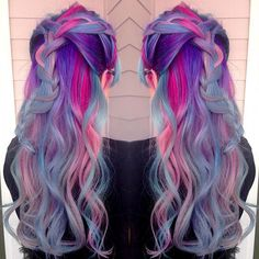 Beautiful mermaid hair unicorn hair rainbow hair by Amanda Lyberger. Love the braided style too! braids fb.com/hotbeautymagazine