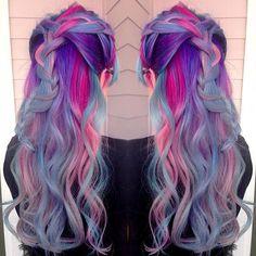 Beautiful mermaid hair unicorn hair rainbow hair by Amanda Lyberger. Love the braided style too! braids fb.com/hotbeautymagazine