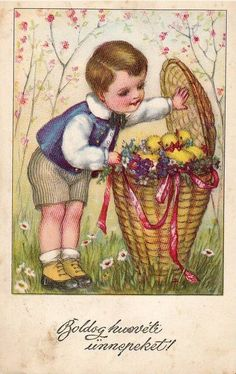 Illustration by Hannes Petersen Vintage Halloween Cards, Vintage Cards, Vintage Postcards, Vintage Images, Fete Pascal, Easter History, Easter Illustration, Sweet Drawings, Easter Art