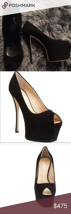 """Giuseppe Zanotti blk suede peep toe platform pump Genuine Giuseppe Zanotti black suede peep toe platform pump- worn once only to dinner. No visible signs of wear except slight scuff marks on the bottom of the sole.  Beautiful peep toe pump with flat front, exaggerated platform and covered 6"""" heel, leather sole, made in Italy. Giuseppe Zanotti Shoes Heels"""