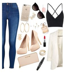 """""""Nude"""" by miss-ruby03 ❤ liked on Polyvore featuring Topshop, Charles by Charles David, Michael Kors, Casetify, Ray-Ban, Stella & Dot, ZooShoo, Monsoon, Roberto Coin and MAC Cosmetics"""